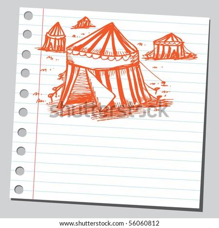 Scribble circus tents - stock vector