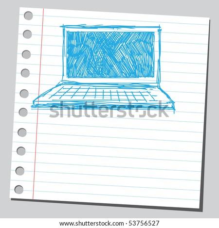 Scribble computer - stock vector