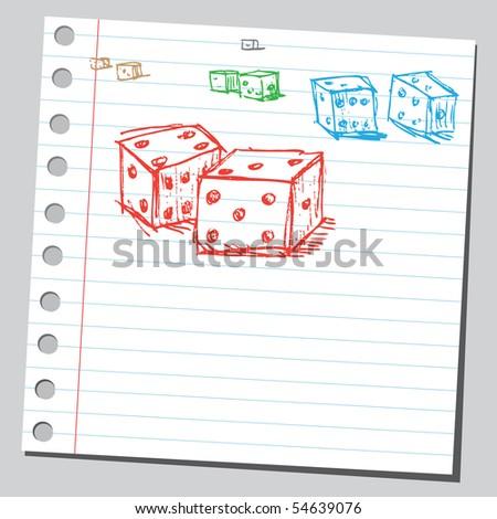 Scribble dices - stock vector