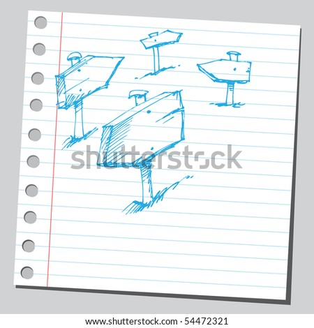 Scribble direction signs - stock vector