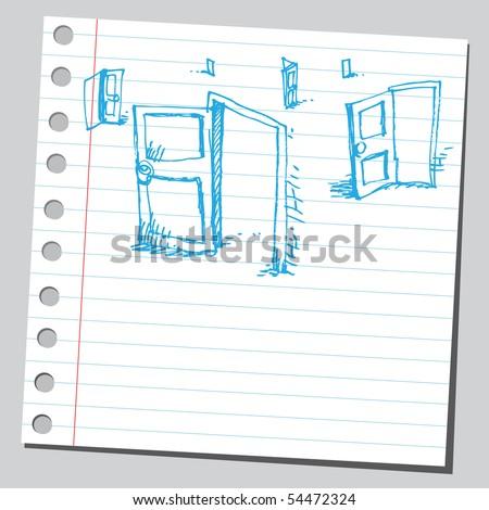Scribble doors - stock vector