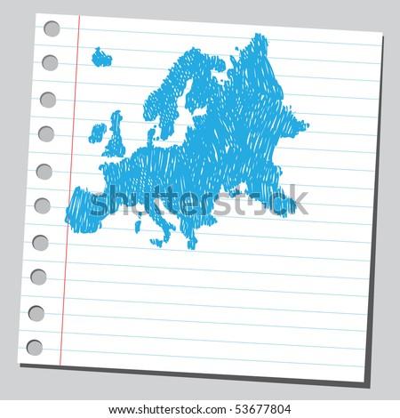 Scribble Europe map - stock vector