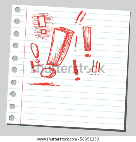 Scribble exclamation mark - stock vector