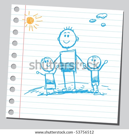 Scribble family - stock vector