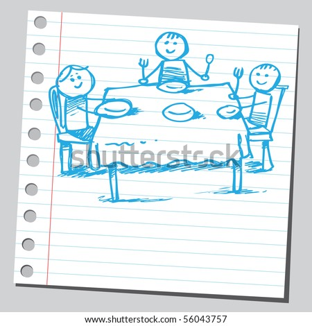 Scribble family eating - stock vector