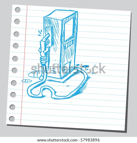 Scribble gas station pump - stock vector