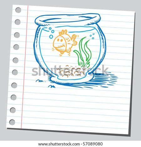 Scribble golden fish - stock vector