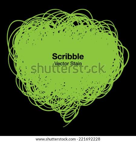 Scribble green bubble, vector illustration - stock vector