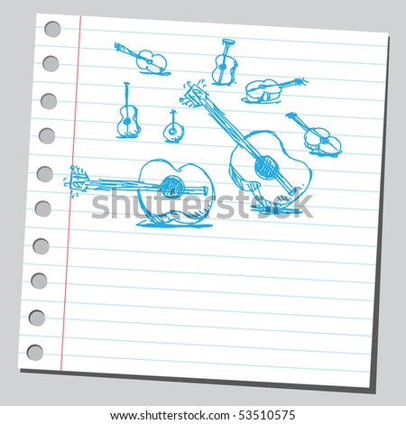 Scribble guitars - stock vector