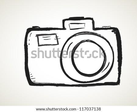 Scribble Hand drawn camera icon vector - stock vector