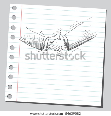 Scribble handshake - stock vector
