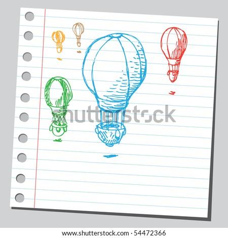 Scribble hot air balloon - stock vector