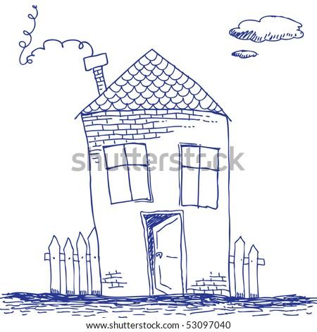 Scribble house - stock vector
