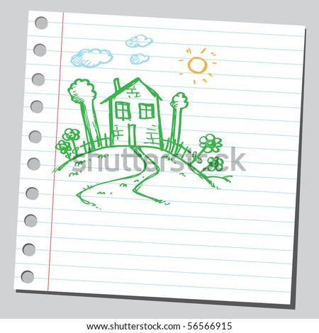 Scribble house on a hill - stock vector