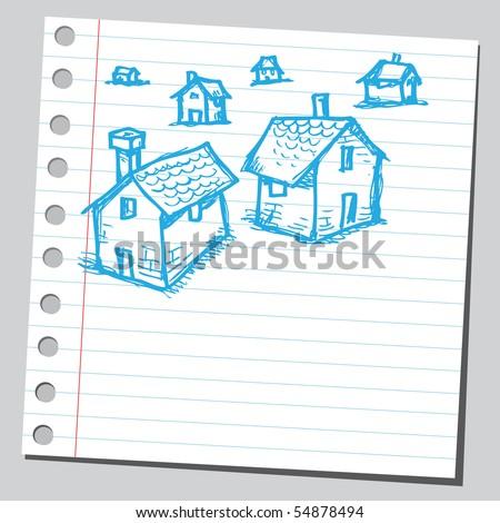 Scribble houses - stock vector
