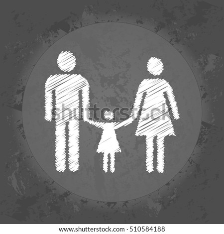 Scribble icon of a married couple and a children on gray vintage background . Minimalism. Icon Logo