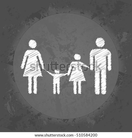 Scribble icon of a married couple and two children on gray vintage background . Minimalism. Icon Logo