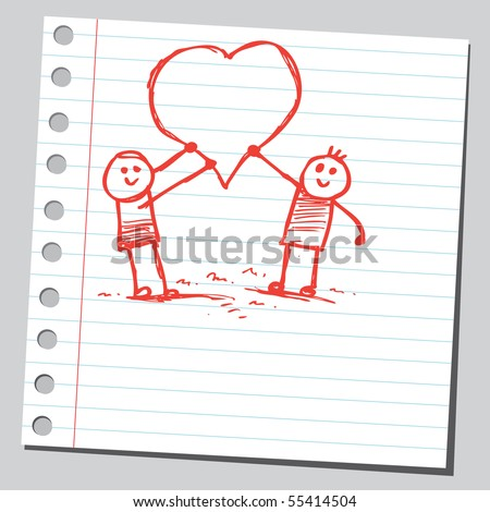 Scribble kids holding hearts - stock vector