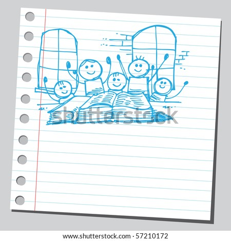 Scribble kids in classroom - stock vector