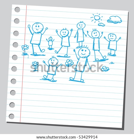 Scribble kids playing - stock vector