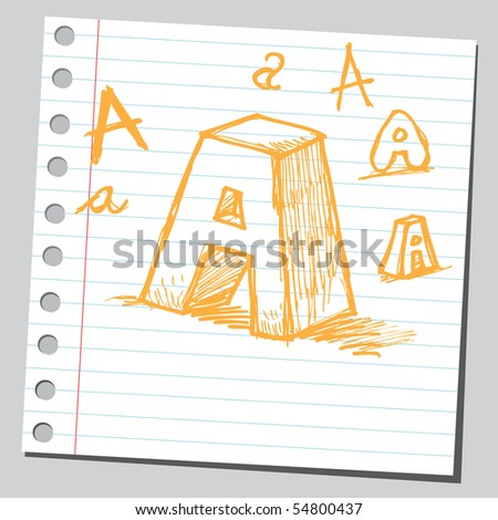 Scribble letter A - stock vector