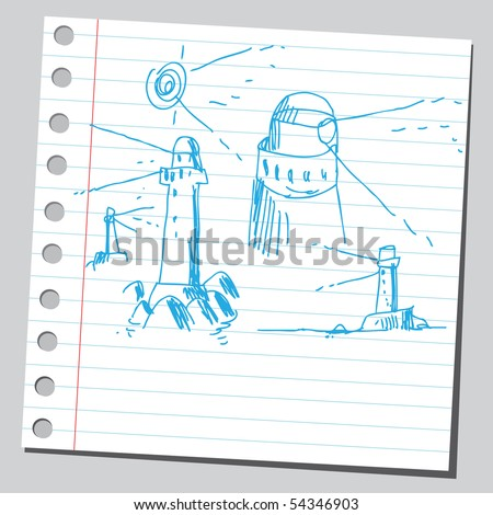 Scribble lighthouses - stock vector