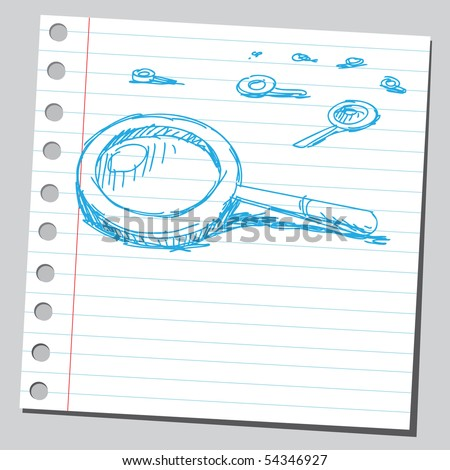 Scribble magnifying glasses - stock vector