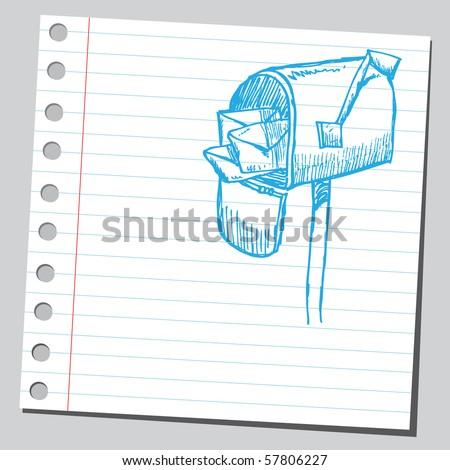Scribble mailbox - stock vector