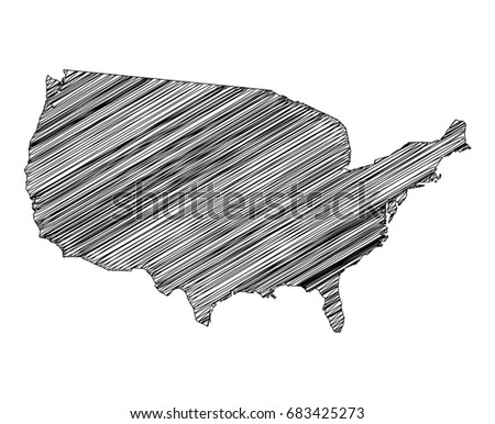 scribble map of united states of america sketch hand drawn black map isolated on