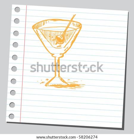 Scribble martini - stock vector