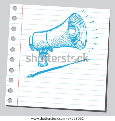 Scribble megaphone - stock vector