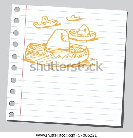 Scribble mexican hat - stock vector