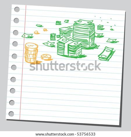 Scribble money - stock vector
