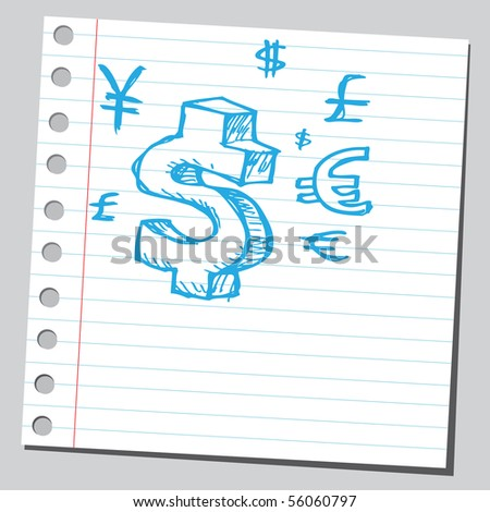 Scribble money symbols - stock vector