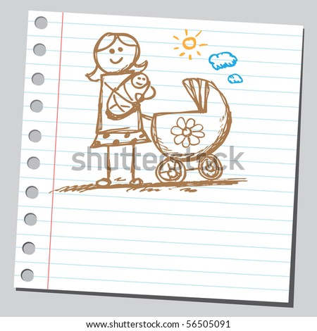 Scribble mother holding baby - stock vector