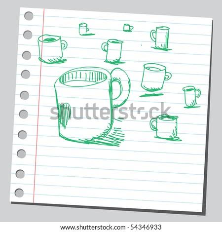 Scribble mugs - stock vector