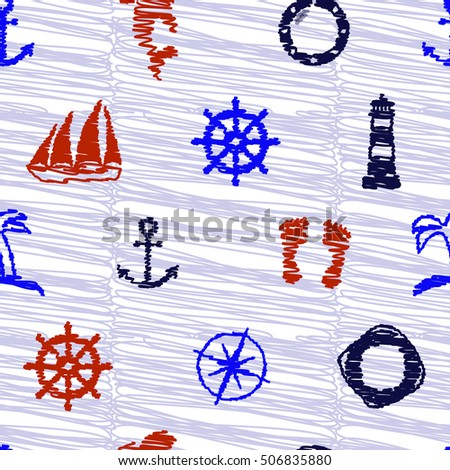 Scribble nautical elements. Seamless pattern.  Vector illustration