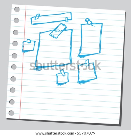 Scribble note papers - stock vector