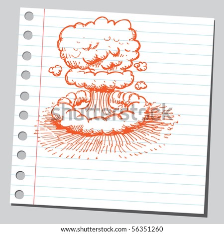 Scribble nuclear explosion - stock vector