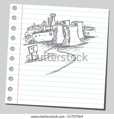 Scribble nuclear power station - stock vector