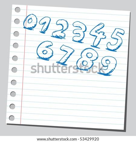 Scribble numbers - stock vector