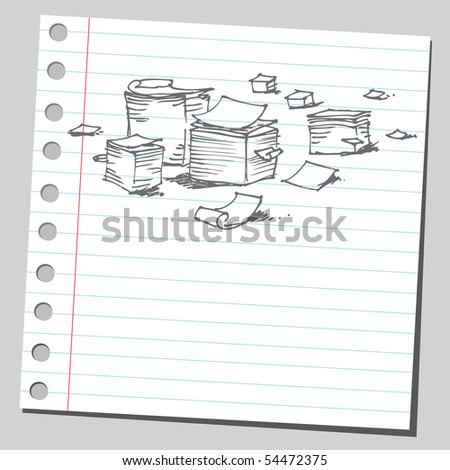 Scribble office papers - stock vector