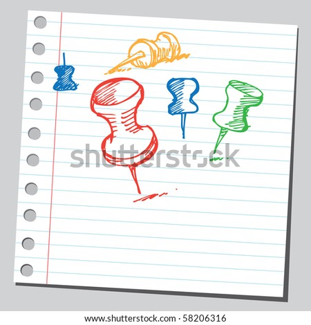 Scribble office pins - stock vector