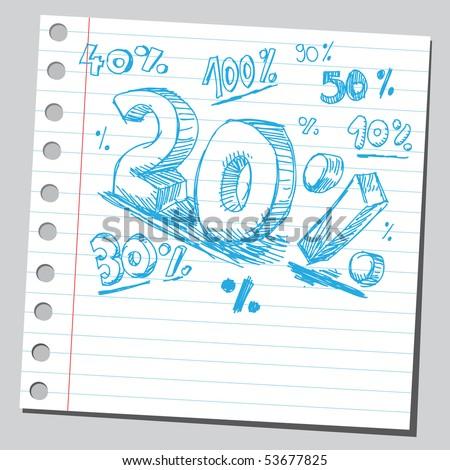 Scribble percents - stock vector
