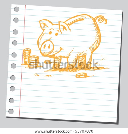 Scribble piggy bank - stock vector