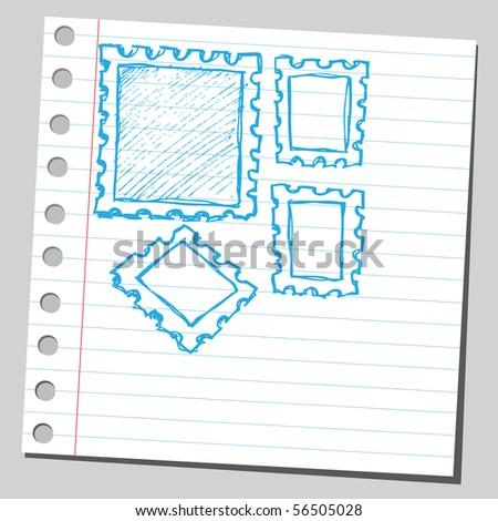 Scribble post stamps - stock vector