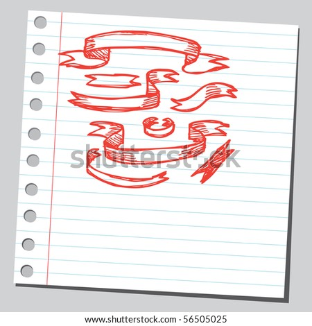 Scribble red ribbons - stock vector