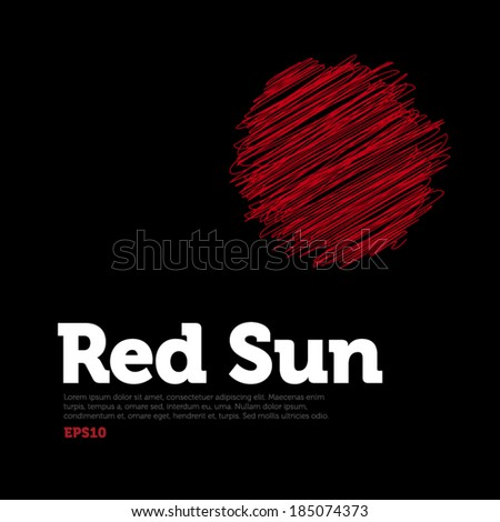 Scribble Red Sun, red spot on black background