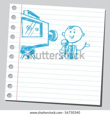 Scribble reporter - stock vector