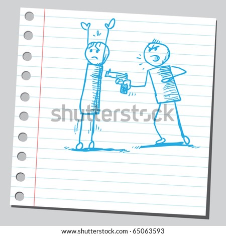 Scribble robbery - stock vector